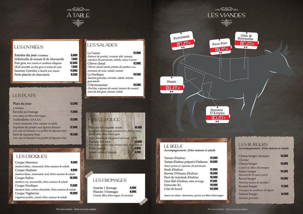 Création Menu restaurant graphiste